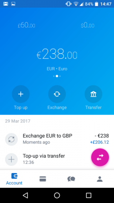 Revolut account can hold multiple currencies - click to enlarge