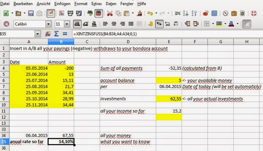 P2P Lending XIRR calculation Excel