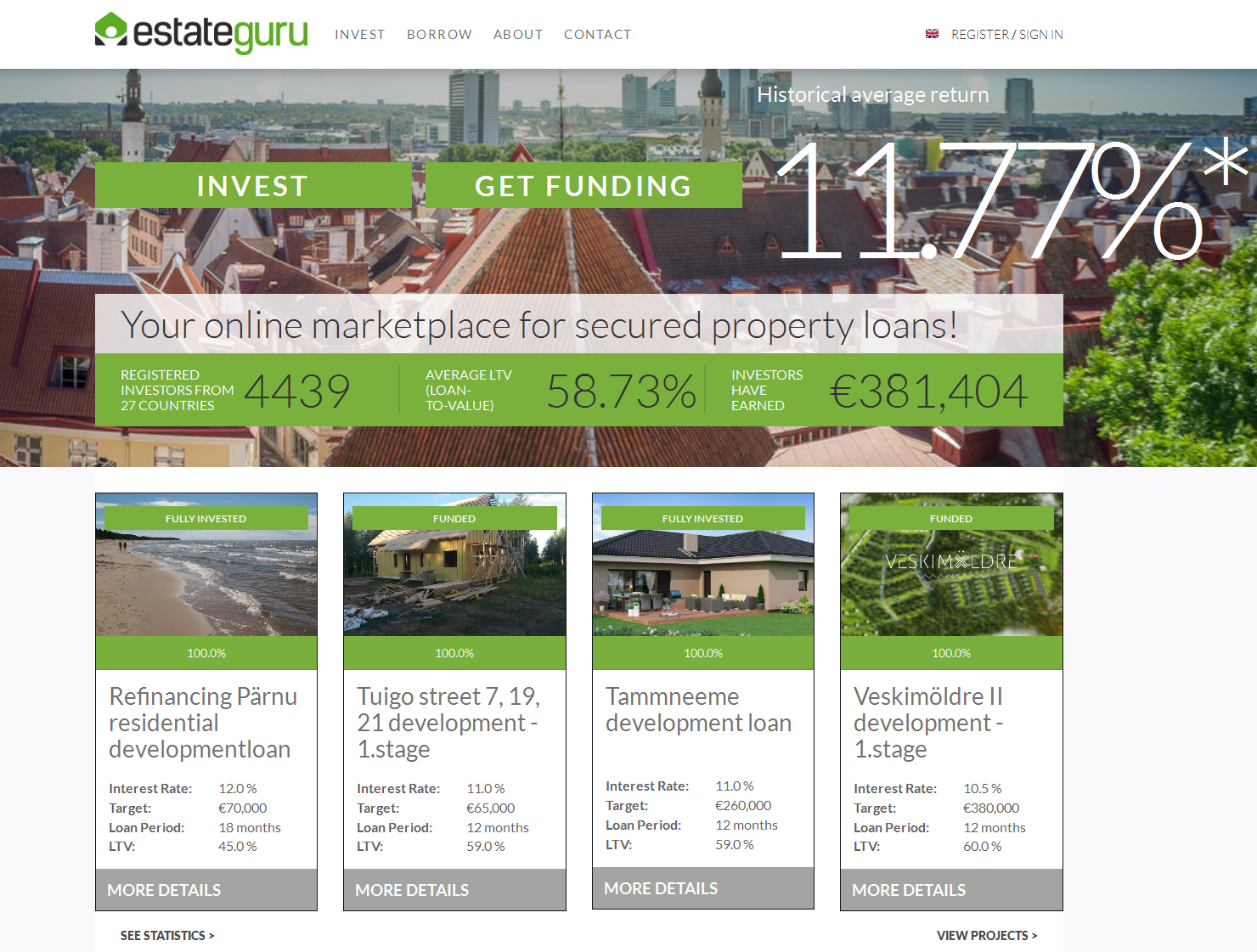 Estateguru homepage August 2016