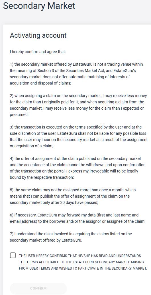 Secondary market activation